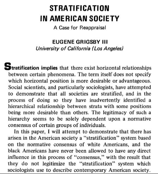 stratified society