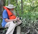 8106---7-9-15 Jim Drake observing the beautiful Sabatia folioso (Lewis Creek)