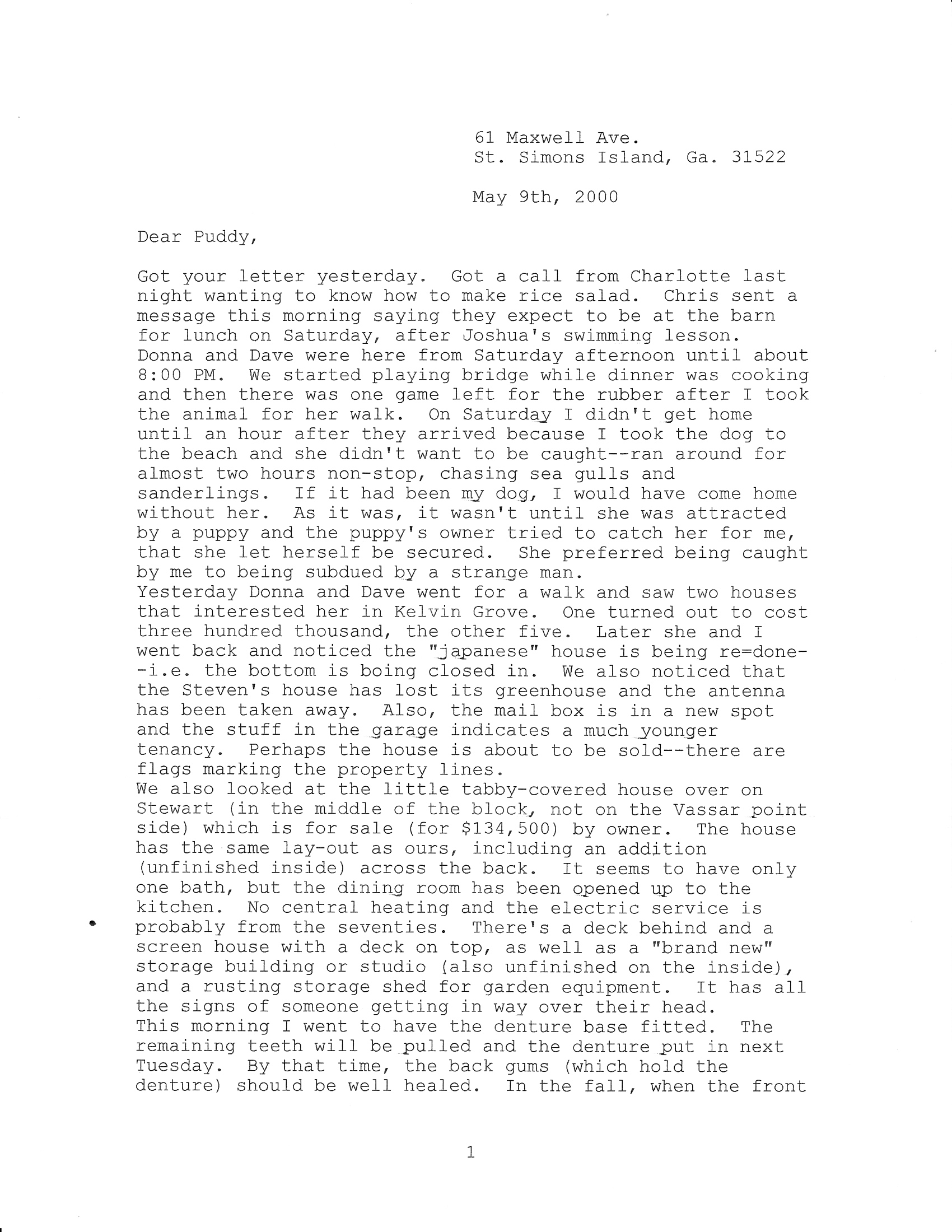 May 2000 Letters